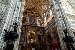 Oct 2018 - Cordoba, Spain - The main altar of Mezquita, Catedral de Cordoba. A former Moorish Mosque that is now the Cathedral of Cordoba. Mezquita is a UNESCO stock photo