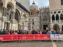 Crowd of tourists waits in line to enter the Basilica di San Mar. Oct 2017: Crowd of tourists waits in line to enter the Basilica of St. Mark, Venice, Italy stock photography