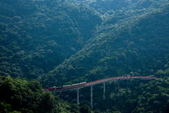 OCT East Shenzhen Meisha Tea Stream Valley curved extension of the forests in the mountains train railway Royalty Free Stock Image