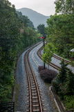 OCT East Shenzhen Meisha Tea Stream Valley curved extension of the forests in the mountains train railway Royalty Free Stock Photo