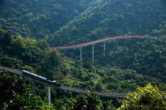 OCT East Shenzhen Meisha Tea Stream Valley curved extension of the forests in the mountains train railway Stock Photos
