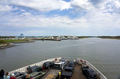 Oct 7, 2015 Lewes Delaware: Cape Henlopen car ferry approaches the ferry dock at Cape May New Jersey. stock photos