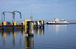 Oct 7, 2015 Lewes Delaware: Cape Henlopen car ferry arrives at the dock at Lewes Delaware. Stock Photo