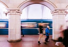 Architecture of Moscow metro and moving train Royalty Free Stock Photos