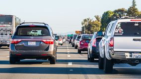 Oct 24, 2019 Mountain View / CA / USA - Heavy traffic on one of the freeways crossing Silicon Valley, San Francisco bay area