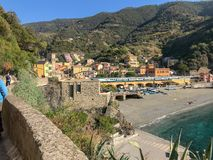 Train passes through Monterosso al Mare, Cinque Terre, Italy royalty free stock image