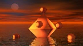 Octaëder in het overzees met ballen royalty-vrije illustratie