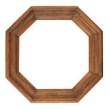 Octagon antique frame, retro frame, wooden frame isolated on whi Stock Photo