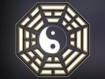 Octagon bagua. Golden octagon bagua on black background vector illustration