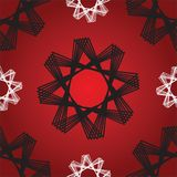 Octagon Stars Red Seamless Pattern stock illustration