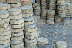 Octagon brick for laying paving floor in construction Stock Images