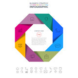 Octagon Business Infographics strategy design elements. Template illustration. Vector eps10 Stock Images