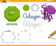 Octagon cartoon basic geometric shapes. Educational Cartoon Illustration of Octagon Basic Geometric Shape for Children Royalty Free Stock Photography