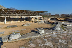 Octagon church in the archeological area of ancient Philippi, Greece Stock Photos