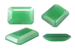 Octagon Green Chalcedony Stock Photos
