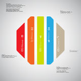 Octagon illustration template consists of five color parts on light background. Illustration infographic template with shape of octagon. Octagonal shape Royalty Free Stock Photography