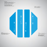Octagon illustration template consists of four blue parts on light background. Illustration infographic template with shape of octagon. Octagonal shape Stock Photos