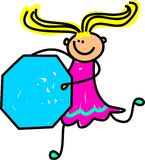 Octagon Kid. Cute cartoon whimsical drawing of a happy little blonde haired girl holding a giant octagon shape vector illustration