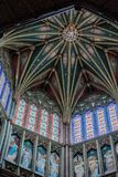The Octagon roof at Ely cathedral. With stained glass windows and painted angel panels Stock Images