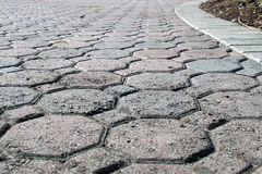 Octagon shaped bricked driveway low angle Royalty Free Stock Images