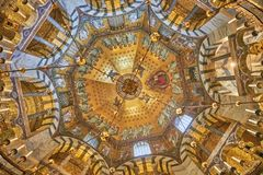 Octagon-shaped interior of the Aachen Cathedral. Beautiful mosaics inside the octagon-shaped interior of the Aachen Cathedral, which is listed under the world Royalty Free Stock Photography