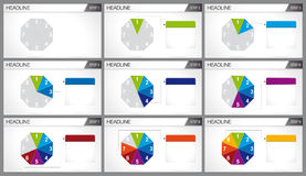 Octagon shaped pie divided into 8 equal parts are illuminated in sequence. On white background. Elements for info graphics, use in presentation. Vector image Royalty Free Stock Photography