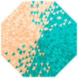 Octagon. With triangles in turquoise and beige colors royalty free illustration