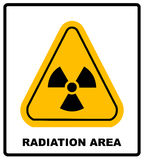 Octagon yellow and black caution with radiation hazard text and sign isolated on white background.-jpg format Royalty Free Stock Photo