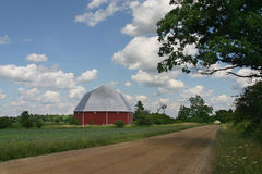 Octagonal barn in countryside Stock Images