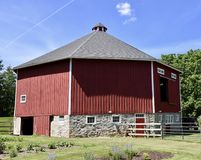 Octagonal Barn. This is a Summer picture of the Frank Vocke Octagonal Barn located in Mequon, Wisconsin in Ozaukee County.  This Octagonal shaped barn was built Stock Photography