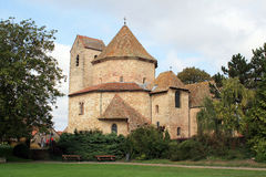 Octagonal church in Alsace. Abbey church of Ottmarsheim in Alsace Stock Images