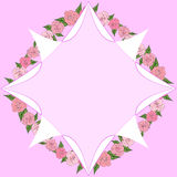 Octagonal frame on a background of roses with leaves of different sizes with space for text. wedding. Octagonal frame on a background of roses with leaves of Stock Photography