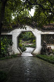 Octagonal gate in Chinese style garden Royalty Free Stock Photo