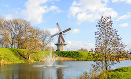 Octagonal grain mill on the edge of the Dutch fortress town Woud Stock Photography