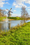 Octagonal grain mill on the edge of the Dutch fortress town Woud Royalty Free Stock Image