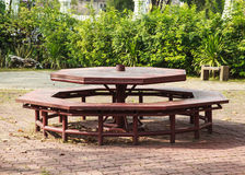 Octagonal picnic table Royalty Free Stock Images