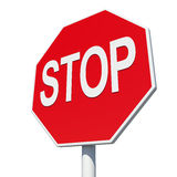 Octagonal road sign with word stop. Isolated Stock Photography