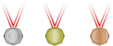 octagonal set tre för medaljer Arkivbilder