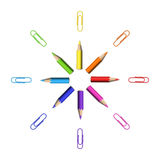 Octagonal Star Of Realistic Colorful Pencils And Paperclips Royalty Free Stock Photo