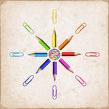 Octagonal Star of Realistic Colorful Pencils and Paperclips vector illustration