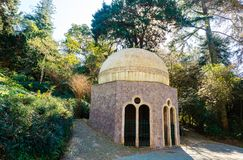 Domed gazebo at the Pena Park by the Palace of Pena in Portugal. Royalty Free Stock Image
