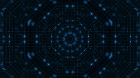 Octagonal tunnel. Flickering and moving light inside the octagonal tunnel. Blue toning stock footage