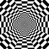 Octagonal tunnel out into the distance, black and white geometric pattern, optical illusion, psychedelic stock illustration