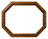 Octagonal wooden frame isolated white background Royalty Free Stock Images