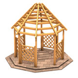 Octagonal wooden gazebo. Illustration, Octagonal wooden gazebo and gratings stock illustration
