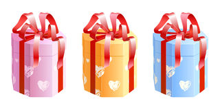 Octahedral box with bow. A set of three octahedral present boxes with bands Stock Photo