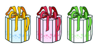 Octahedral box contour. A set of three present octahedral boxes Royalty Free Stock Photo