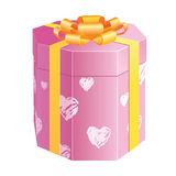 Octahedral box with hearts. An octahedral pink present box with water-colour hearts Royalty Free Stock Photos