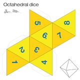 Octahedral Dice Platonic Solid Template. Octahedron template, octahedral dice - one of the five platonic solids - make a 3d item with eight sides out of the net Royalty Free Stock Images