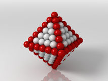 Octahedron. 3d generated illustration of octahedron builded with red and white balls Royalty Free Stock Photography